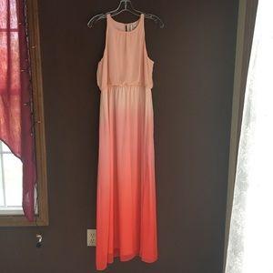 Sunrise/sunset Peach Sleeveless Maxi Dress